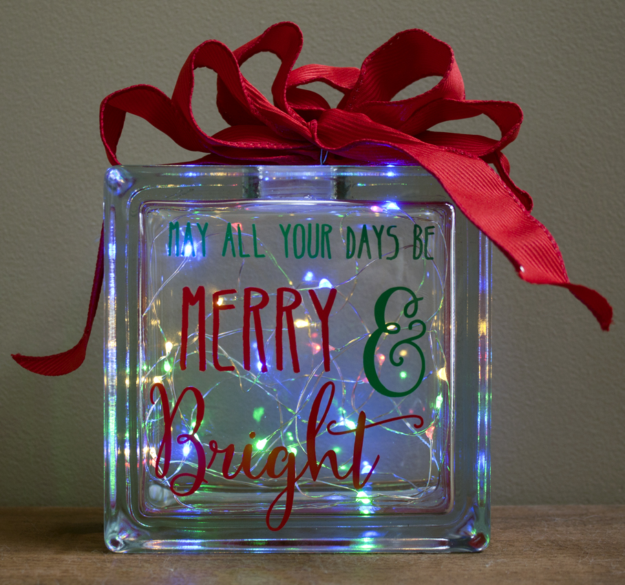 Merry and Bright Glass Block