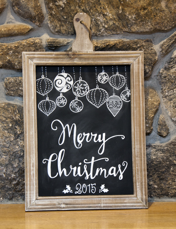Merry Christmas Ornaments Chalkboard
