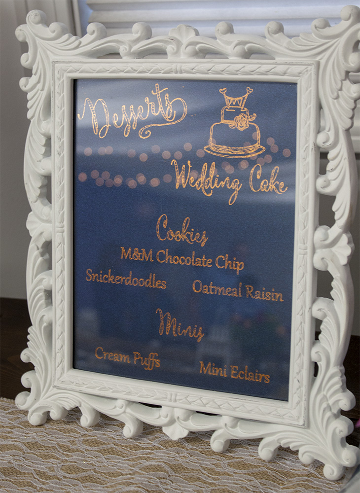 Copper Foil Desserts Sign